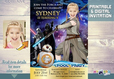 Star Wars Pool Party Invitation. Pool Party themed Star Wars. Jedi Rey Pool Party Ideas. Jedi Rey Birthday Ideas. 015