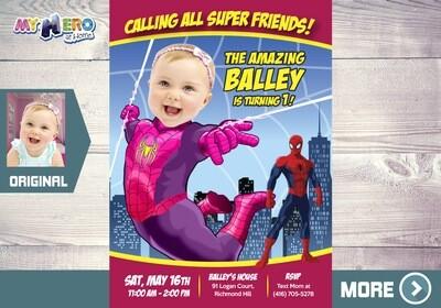Baby Spider-Girl Invitation. Spider-Girl First Invitation. Pink Spider girl 1st Birthday. Spider girl First Birthday. 391B