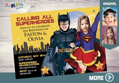 Joint Batman and Super Girl Invitation. Joint Superheroes Party. Supergirl and Batman Party Ideas. Superheroes Siblings Birthday Ideas. 115
