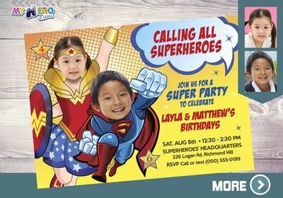 Wonder Woman and Superman Invitation. Superheroes Birthday Invitations. Joint Justice League party. Superman and Wonder Woman Party. 141