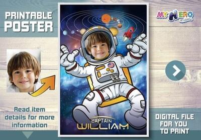 Astronaut Poster. Astronaut Decoration. Astronaut Wall Decor. Child Astronaut Decor. Universe Poster. Milky Way poster. Astronaut Gift. 359