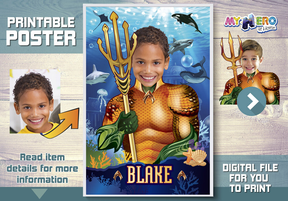Aquaman Poster. Turn your child into Aquaman for his Underwater Poster. Atlantis Poster. Aquaman Poster. Justice League Poster. 349