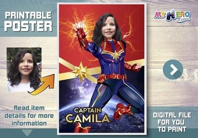 Captain Marvel Poster. Captain Marvel Decor. Captain Marvel Backdrop. Custom Captain Marvel Poster. Captain Marvel Gifts. 373