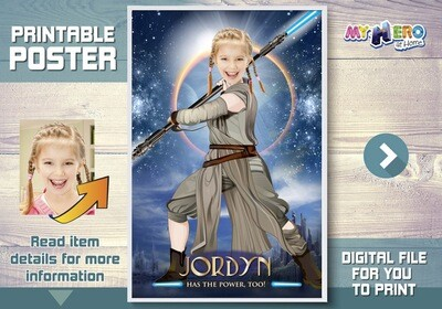 Jedi Rey Poster. Turn your girl into the Jedi Rey for her own unique Girl Star Wars Poster. Custom Star Wars Poster for girls. 360