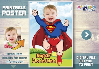 Baby Superman Poster. Baby Superman Room Decor. Baby Superman Wall Decor. Baby Superman Gifts. Custom Baby Superman Poster. 368