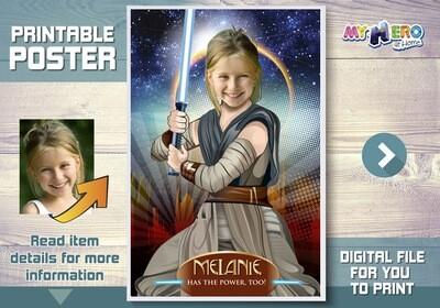 Girl Star Wars Poster. Jedi Rey Poster. Custom Star Wars Poster for girls. Girl Star Wars Room Decor. Girl Star Wars Party Decor. 361