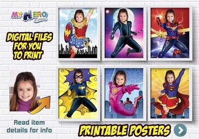Super Hero Girls Posters. Super Hero Girls Wall Decor. Superhero Girls Decor. Custom Superhero Girls Posters. 426