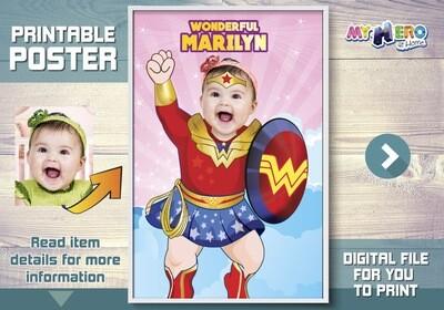 Baby Wonder Woman Poster. Baby Wonder Woman Room Decor. Baby Wonder Woman Party. Baby Wonder Woman Gift. Custom Baby Wonder Woman Poster 427