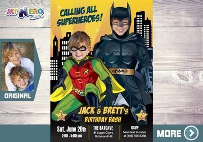 Batman and Robin Birthday Invitation. Batman and Robin Siblings Invitation. Batman and Robin Birthday Party. Joint Batman and Robin. 296