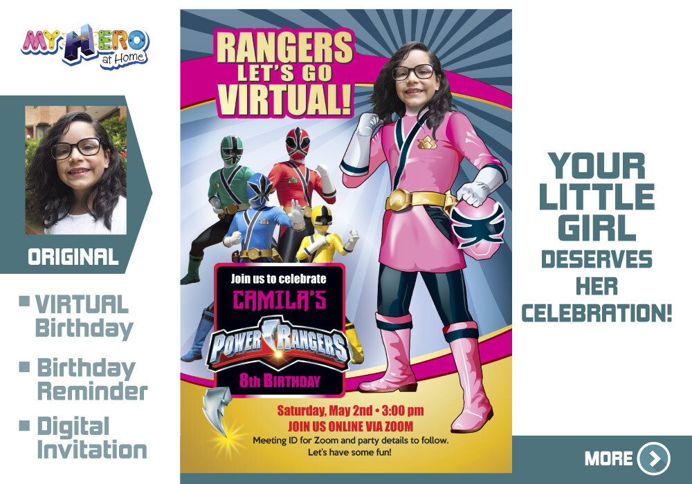 Girl Power Rangers Virtual Birthday Invitation. Pink Power Ranger Virtual Party. Pink Power Ranger Custom Poster. Power Rangers Quarantine. 396CV