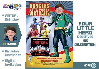 Power Rangers Virtual Birthday Invitation. Green Power Ranger Virtual Party. Green Power Ranger Custom Poster. Power Rangers Quarantine. 415CV