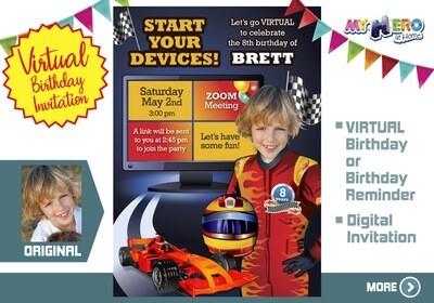 Race Car Virtual Birthday Invitation. Race Car Birthday Reminder. Race Car Virtual Party. Race Car Online Party. Race Car Digital. 317CV