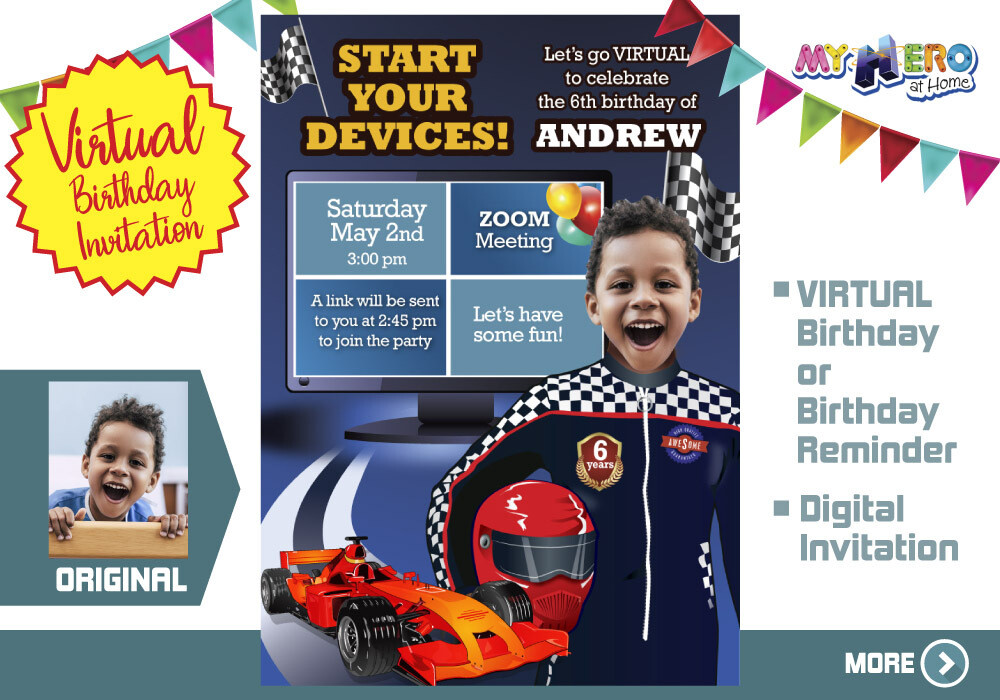 Race Car Virtual Birthday Invitation. Race Car Birthday Reminder. Race Car Virtual Party. Race Car Online Party. Race Car Digital. 318CV
