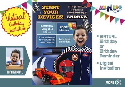 Race Car Virtual Birthday Invitation. Race Car Birthday Reminder. Race Car Virtual Party. Race Car Online Party. Race Car Digital. 318CV