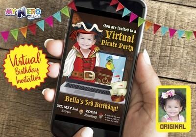 Girl Pirate Virtual Birthday Invitation. Girl Pirate Birthday Reminder. Pirate Virtual Party. Pirate Online Party. Pirate Digital. 230CV