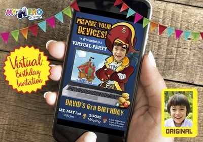 Pirate Virtual Birthday Invitation. Pirate Birthday Reminder. Pirate Virtual Party. Pirate Online Party. Pirate Digital. Pirate virtual theme party. 227CV