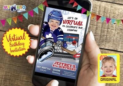 Hockey Virtual Birthday Invitation. Canadian Hockey Virtual Party. Hockey Online Party. Hockey Digital. Hockey Virtual theme Party. 308CV