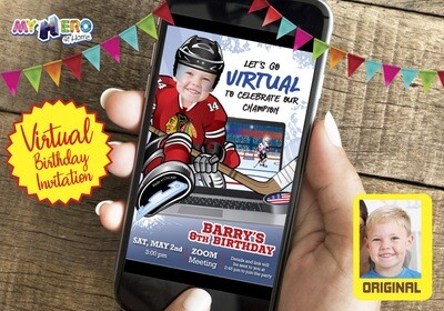 Hockey Virtual Birthday Invitation. USA Hockey Virtual Party. Hockey Online Party. Hockey Digital. Hockey Virtual theme Party. 301CV