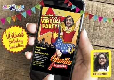 Wonder Woman Virtual Birthday Invitation. Wonder Woman Birthday Reminder. Wonder Woman Custom Poster. Quarantine Theme Party . 153CV
