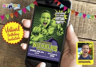 Hulk Virtual Birthday Invitation. Hulk Birthday Reminder. Hulk Custom Poster. Hulk Online Birthday Invitation. Hulk Quarantine. 089CV