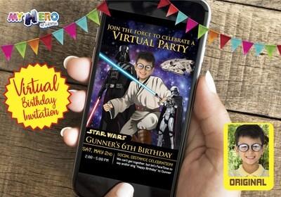 Star Wars Virtual Birthday Invitation. Jedi Virtual Party Invitation. Jedi Custom Poster. Star Wars Birthday Reminder.  214CV