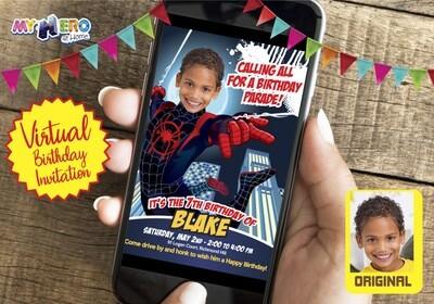Spider Verse Virtual Invitation. Spider-Verse Virtual Birthday. Spider-Verse Social Distance Ideas. SpiderVerse Drive By Party. 399CV