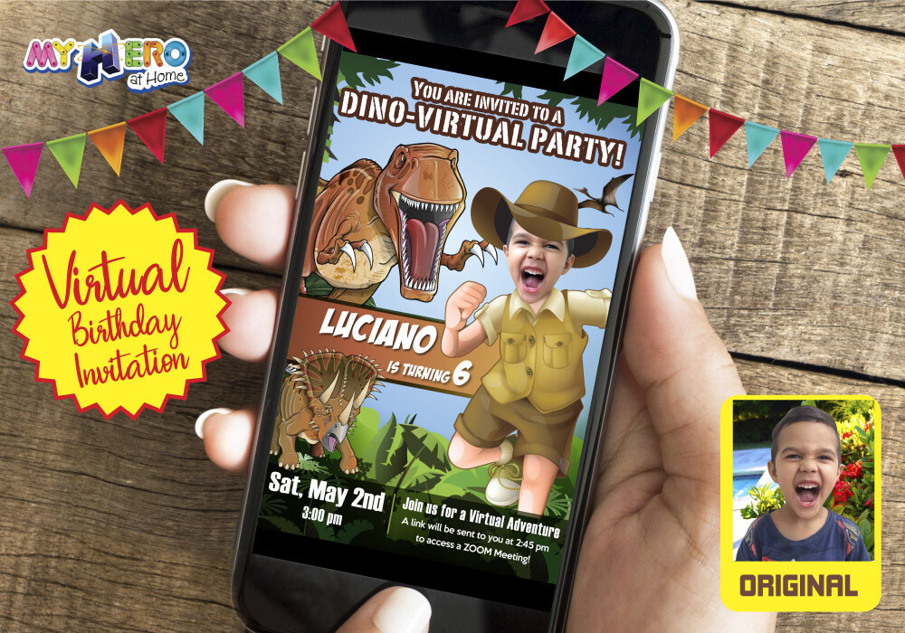 Dinosaurs Virtual Birthday Invitation. Dinosaurs Birthday Reminder. Dinosaurs Virtual Party. Dinosaurs and Explorer Custom Poster. 208CV
