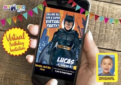 Batman Virtual Invitation. Batman Birthday Reminder. Batman Virtual Party. Batman Custom Poster. Justice League Quarantine party. 215CV