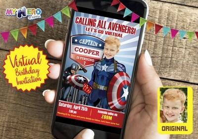 Captain America Virtual Invitation. Captain America Drive By Party. Captain America Virtual Party. Captain America Birthday Parade. 075CV