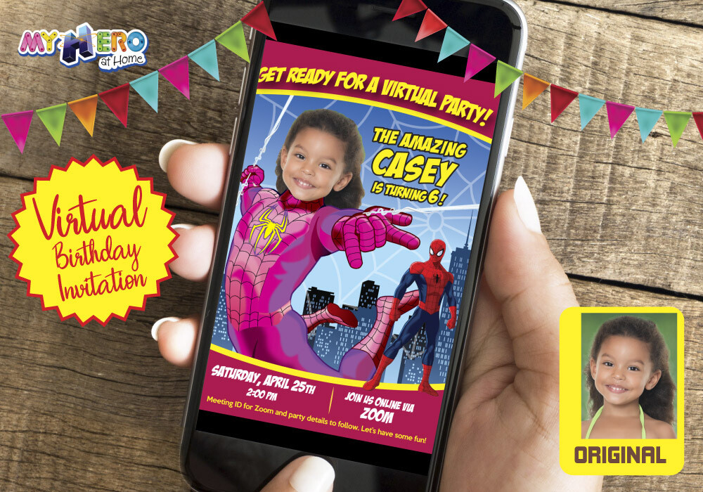 Girl Spider-Man Virtual Birthday Invitation. Pink Spidergirl Birthday Reminder. Spider Girl Custom Poster. Super Hero Girl Quarantine Ideas. 391CV