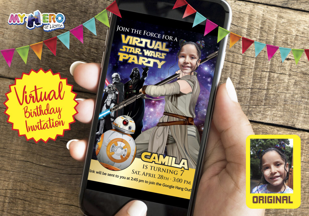 Girl Star Wars Virtual Birthday Invitation. Jedi Rey Virtual Party Invitation. Jedi Rey Custom Poster. Girl Star Wars Birthday Reminder.  006CV