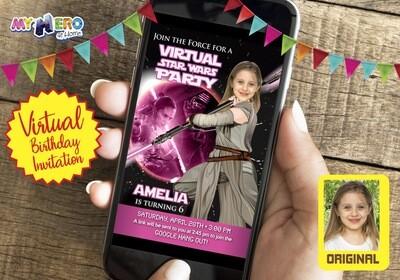 Star Wars Pink Black Virtual Birthday Invitation. Jedi Rey Pink Black Virtual Party. Jedi Rey Custom Poster. Pink Jedi Rey Birthday Reminder.  010CV