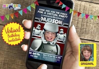 Stormtrooper Virtual Birthday Invitation. Stormtrooper Virtual Party Invitation. Stormtrooper Custom Poster. Virtual Dark Side Party. 035CV