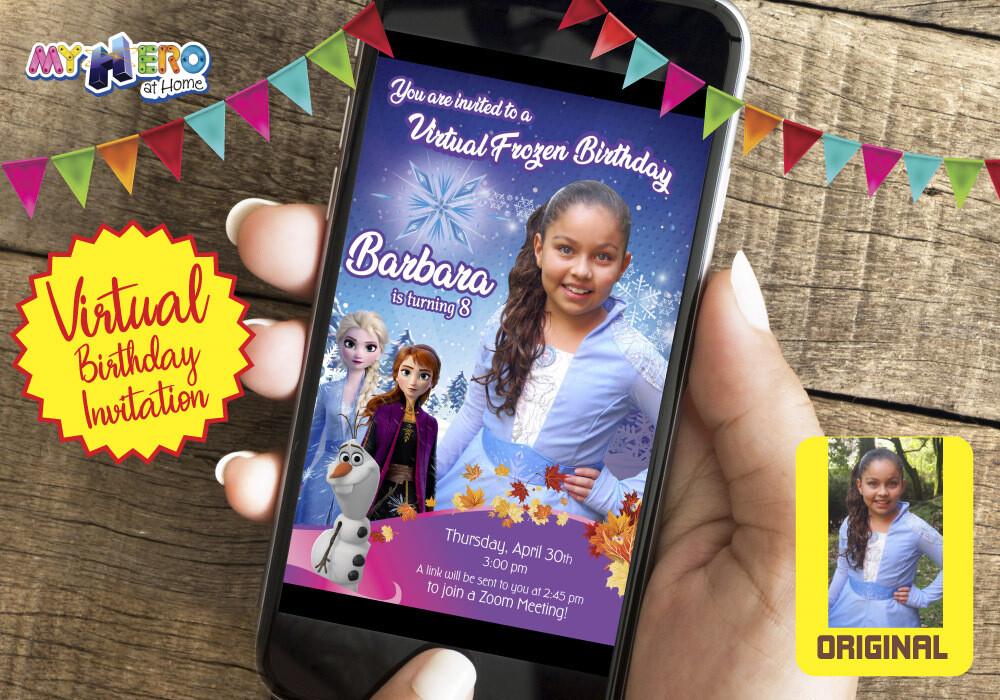 Frozen Virtual Birthday Invitation. Frozen Elsa Birthday Reminder. Frozen Elsa Custom Poster. Frozen Quarantine. Frozen Elsa Virtual Party. 409CV