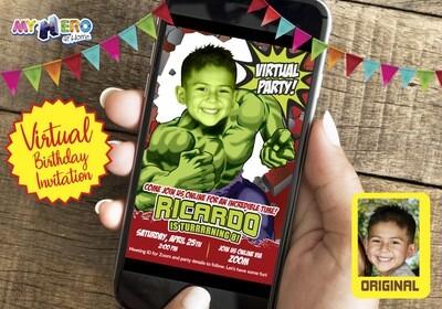 Hulk Virtual Birthday Invitation. Hulk Birthday Reminder. Hulk Virtual Party. Hulk Custom Poster. Avengers Quarantine Ideas. 088CV