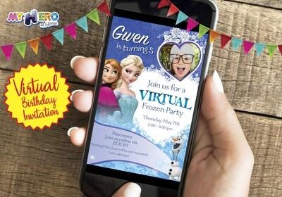 Frozen Virtual Birthday Invitation. Frozen Birthday Reminder. Frozen Virtual Party. Frozen Zoom. Frozen Digital. 275CV