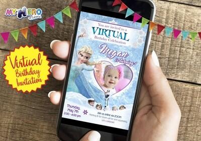 Frozen Virtual Birthday Invitation. Frozen First Birthday Reminder. Frozen Virtual Party. Frozen Zoom. Frozen Digital. 272CV