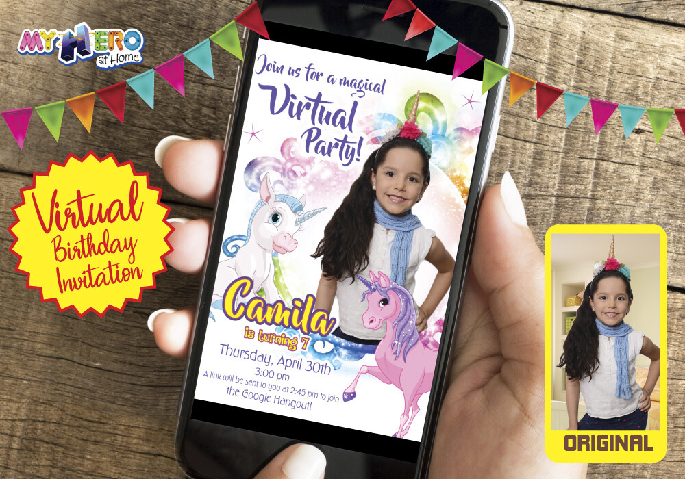 Unicorns Virtual Birthday Invitation. Unicorns Photo Invitation. Unicorns Digital Invitation with the photo of your unicorn girl. 286CV2
