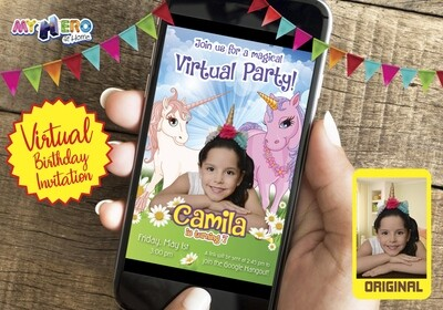 Unicorns Virtual Birthday Invitation. Unicorns Photo Invitation. Unicorns Digital Invitation with the photo of your unicorn girl. 286CV3