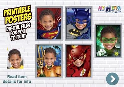 Justice League Posters. Posters of Superman, Batman, Aquaman, Flash and Green Lantern. Superheroes Wall Decoration. 411B