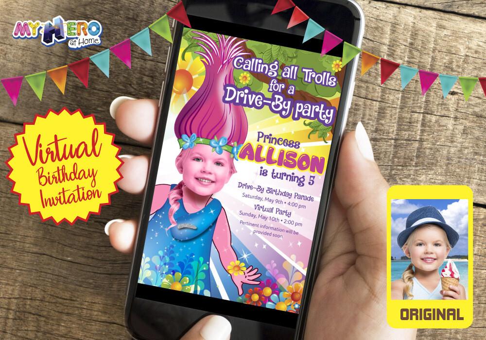 Trolls Virtual Birthday Invitation. Trolls Online party. Trolls Quarantine Party. Princess Poppy Virtual Party. 201CV