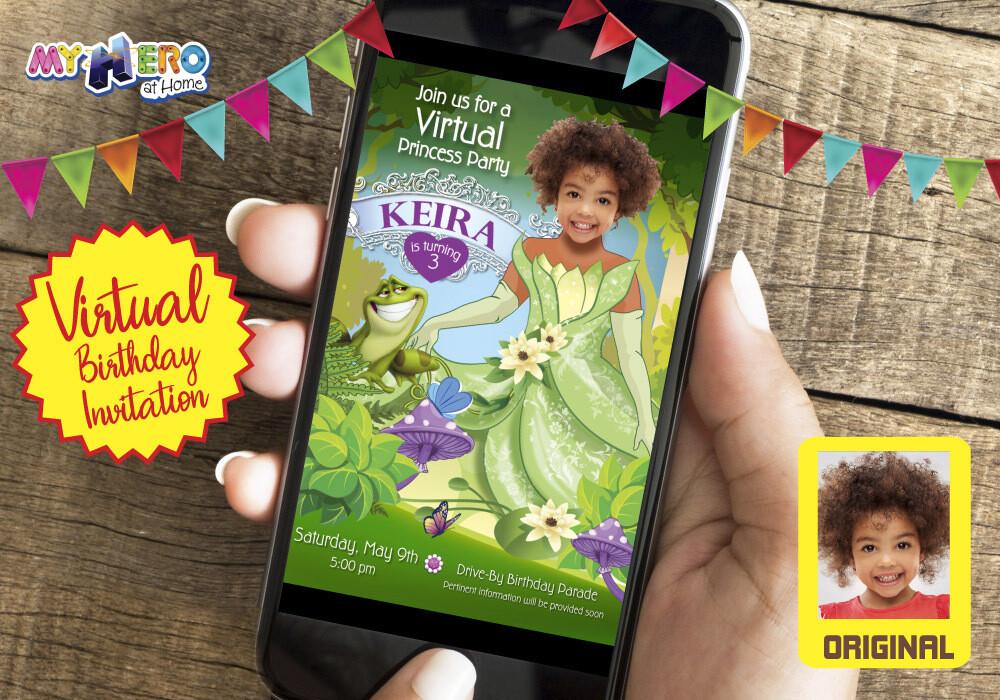 Princess Tiana Virtual Birthday Invitation. The Princess and the frog Online Party. Princess Tiana Digital Invitation. Princess Zoom. 265CV