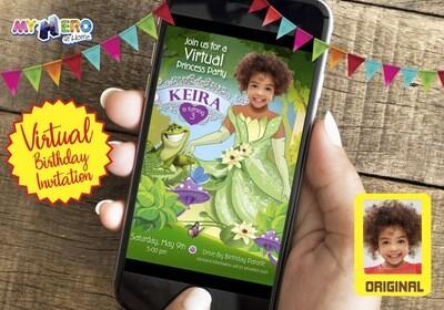 Princess Tiana Virtual Invitation. Princess and the frog Online Party. Princess Tiana Virtual Party. Princess Tiana Birthday Parade. 265CV