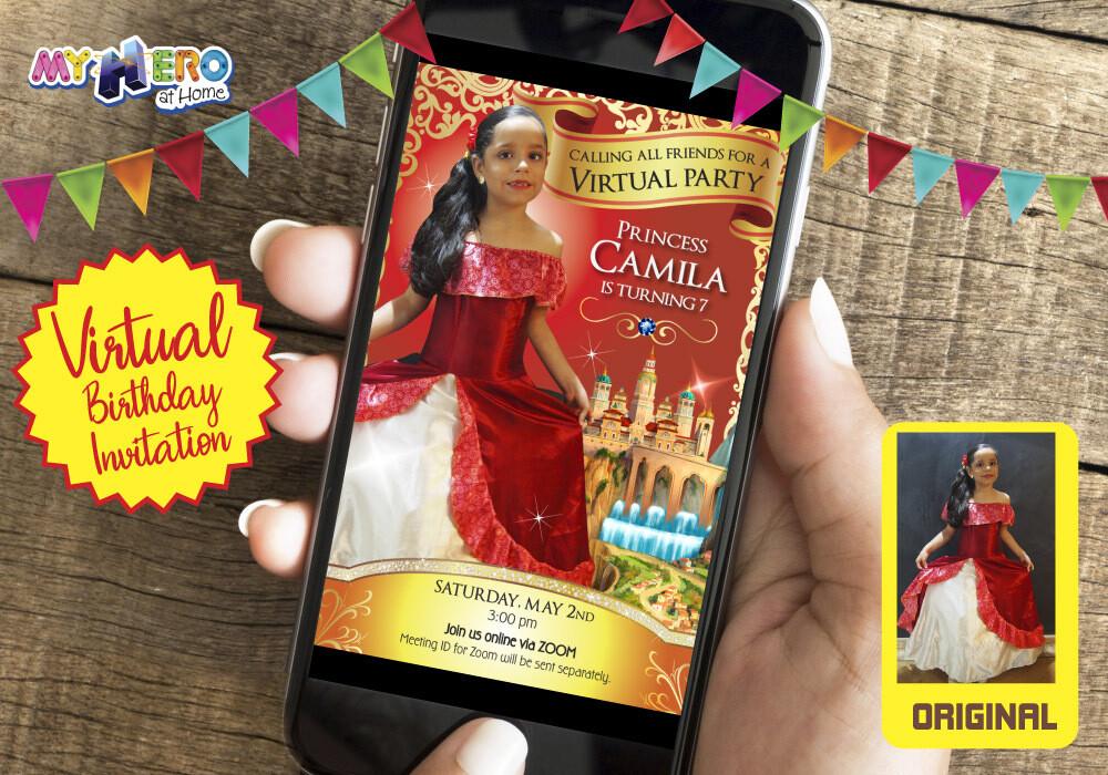 Princess Elena of Avalor Virtual Birthday Invitation. Princess Elena of Avalor Digital Invitation. Princess Elena of Avalor Photo Invitation. 248CV