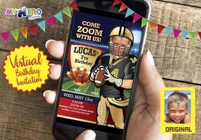 Football Virtual Party Invitation. American Football Virtual Birthday Ideas. New Orleans Saints Birthday Invitation. Football Zoom. 323CV