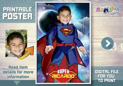 Superman Poster. Turn your child into Superman to star his Custom Superman Poster. Superman Decor. Superman Backdrop. Superman Gifts. 430