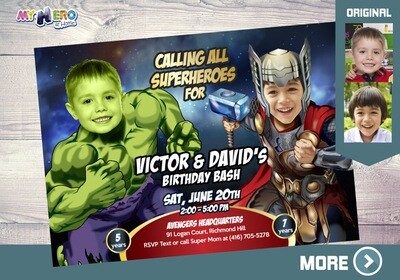 Thor and Hulk Birthday Invitation. Hulk and Thor Party Invitation. Joint Avengers Party. Siblings Avengers Party. Hulk & Thor Birthday. 156