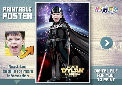 Darth Vader Poster. Turn your child into Darth Vader for his own unique Star Wars Poster. Dark Side Poster. Custom Darth Vader Poster. 431