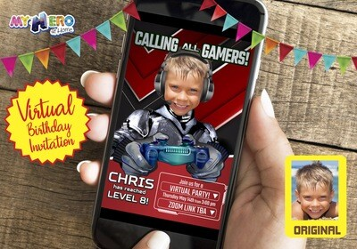 Video Gamer Virtual Birthday Invitation. Gamer Birthday Invitation. Game On Party. Calling all Gamers Party. Video Games Party. 433CV