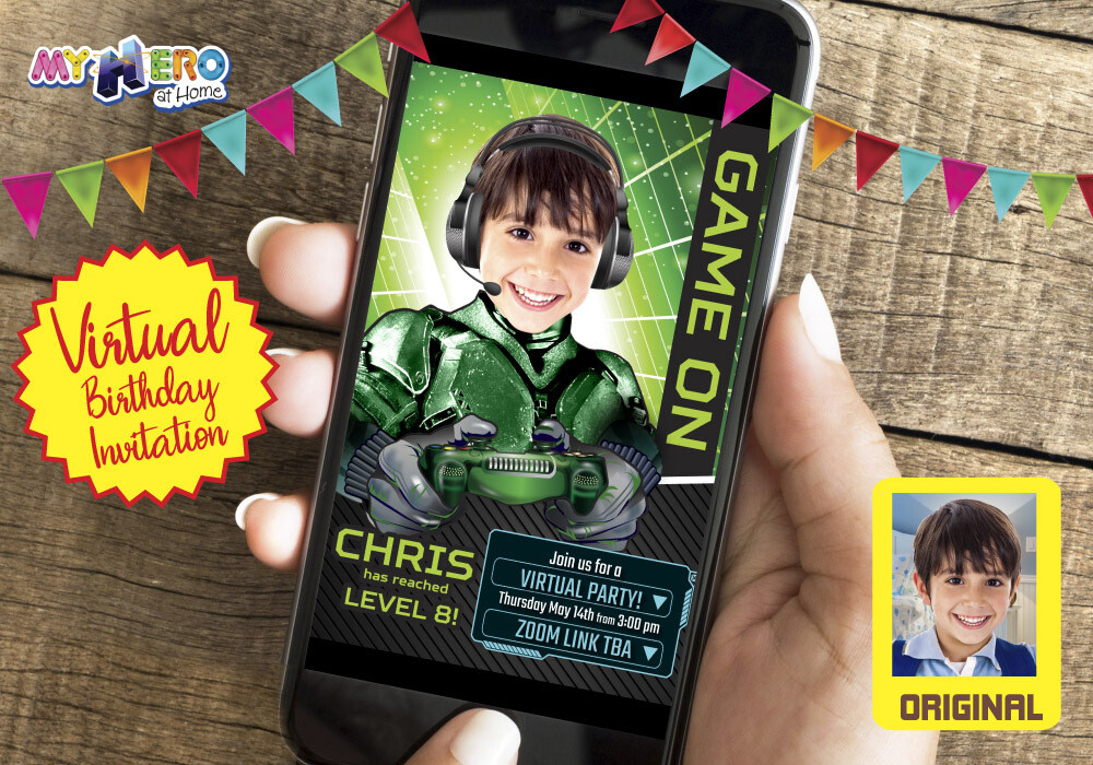 Video Gamer Virtual Birthday Invitation. Gamer Birthday Invitation. Game On Party. Calling all Gamers Party. Video Games Party. 432CV